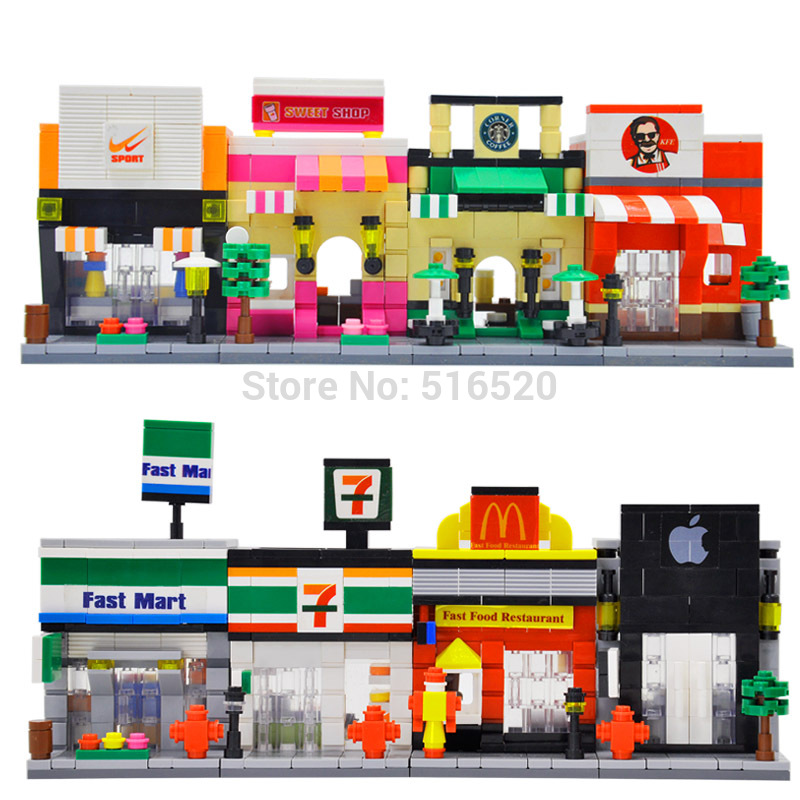 Single Sale HSANHE Mini Street Scene Retail Store Architectures Educational Building Blocks Sets Model Toys city architecture mini street scene view reims cathedral police headquarters library fire departmen building blocks sets toys