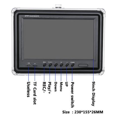 9 polegada gravador dvr 20 m camera