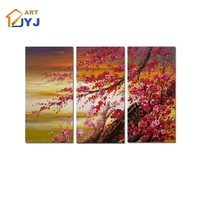 3 Panels Artwork Red Plums Hand Painted Oil Painting Canvas Big Wall Art Home Decor abstract painting Oil Poster for Living Room