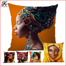 New Africa Art Black Girl African Woman Oil Painting Cute Pillow Cover For Sofa Decoration Cartoon Linen Cushion