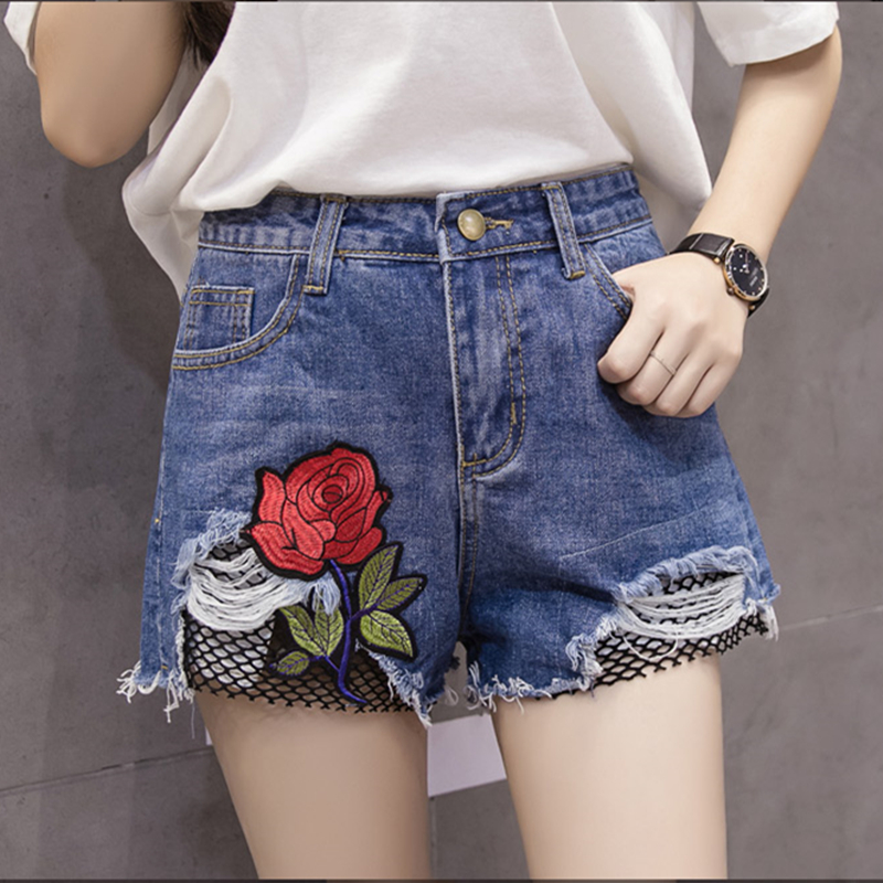 2017 summer plus size fashion Women's shorts rose embroidery Holes patchwork mesh high waist wide leg ladies jeans shorts