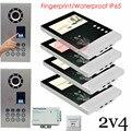 2v4 Apartment Video Door Phone Camera Intercom 4.3inch LCD+Fingerprint Recognitio/Password Unlock Outdoor Unit Waterproof(IP65)