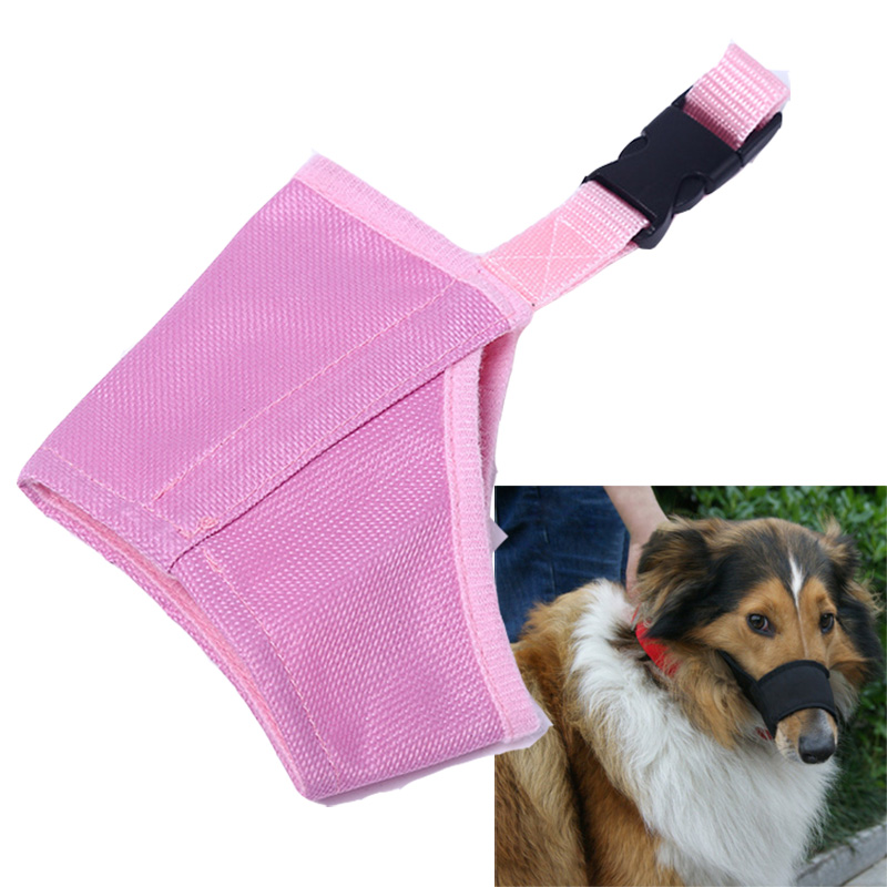 Pink Pet Nylon Adjustable Mask Bark Bite Soft Mouth Muzzle Grooming Anti Stop Chewing Dog Control For Small Large Dog