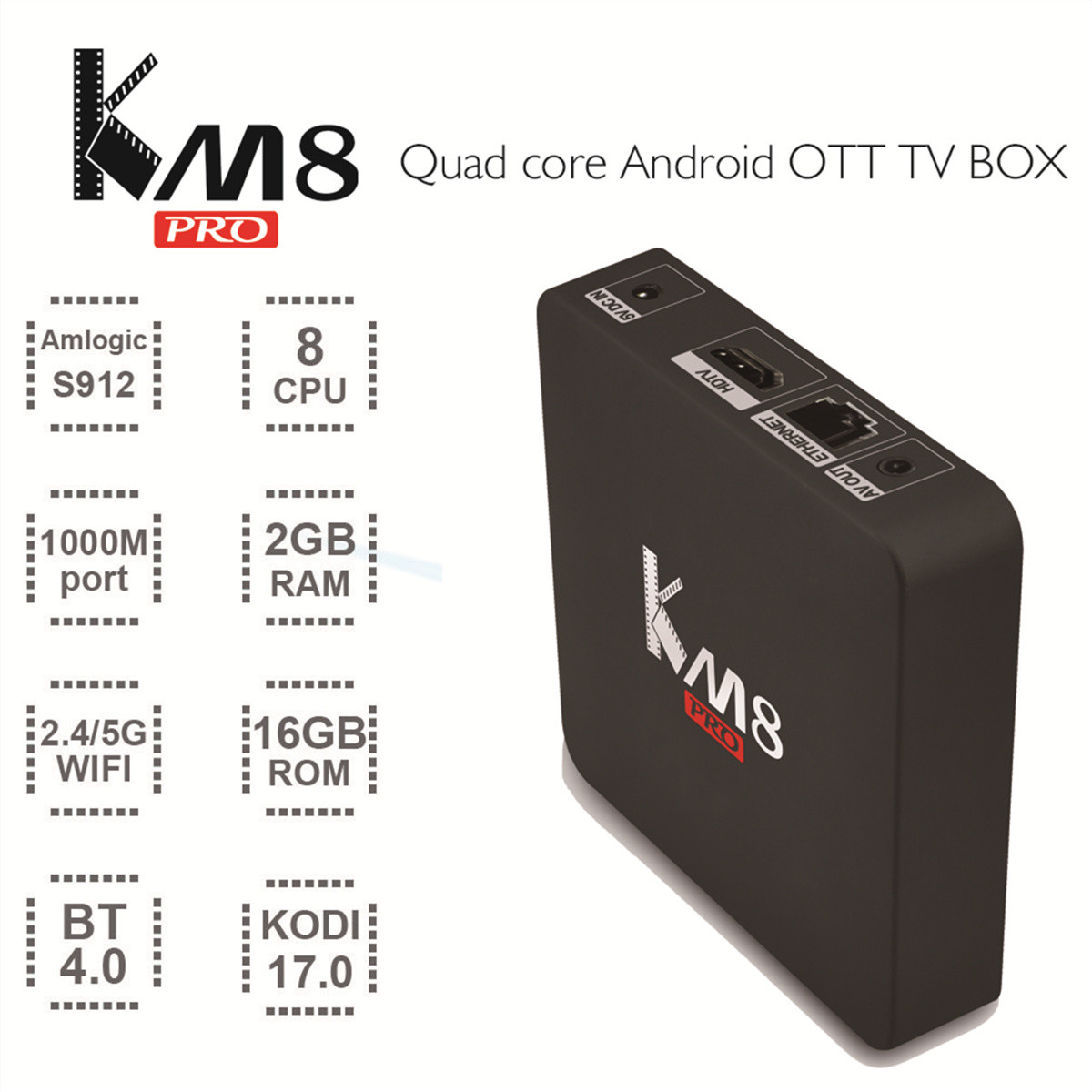 цена на KM8 Pro Smart TV Box Amlogic S912 2GB 16GB Set Top Box 4K WiFi 1000M Bluetooth 4.0 HD Media Player Android 6.0