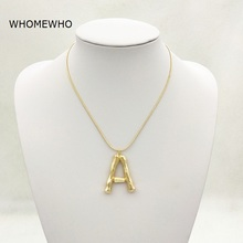 Gold Hammered Metal Bamboo 26 Letter Alphabet A-Z Minimalist Initial Statement Pendant Necklace Fashion Snake Chain Neck Jewelry