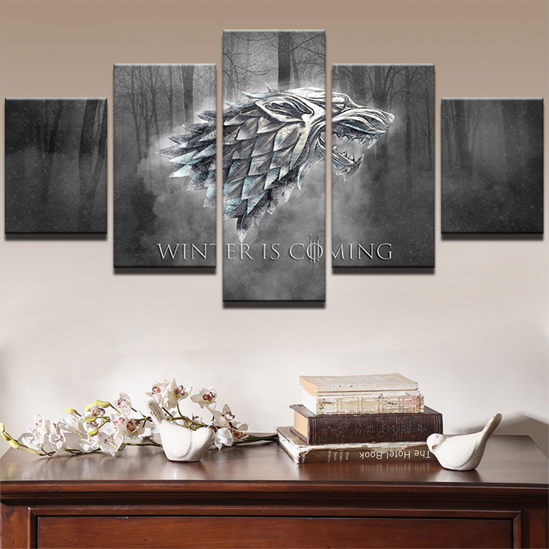5 Panels Canvas Poster Prints Winter Is Coming Painting Frame Modern Pictures TV Play Game Of Thrones Poster Home Decor Wall Art