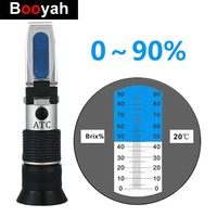 Booyah Hand Refractometer Brix 0 90% Fruit Juice Liquids Syrup Concentrate Specific ATC Measurement Tool Refractometer For Sugar
