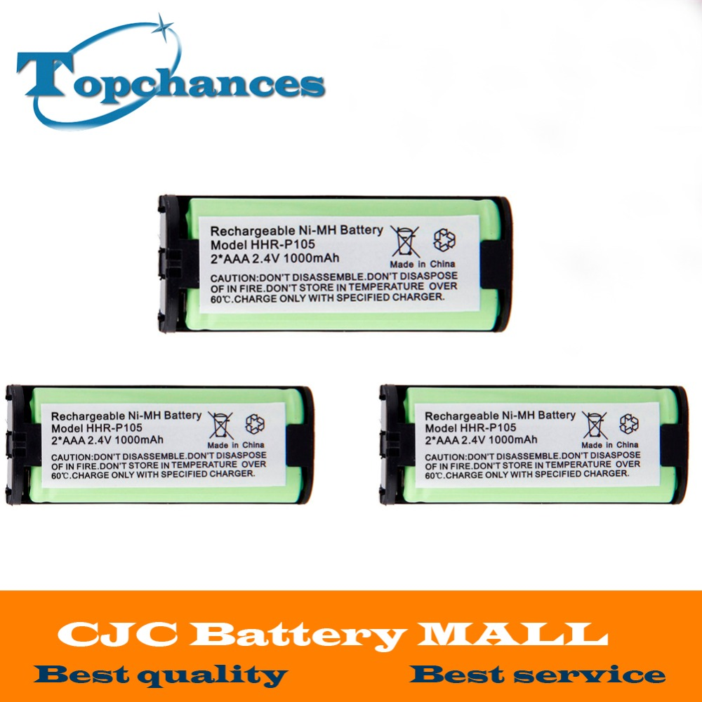 3 x 2.4V 1000mAh Home Cordless Phone Battery for Panasonic HHR-P105 HHRP105 New