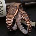 Onlyou Lovers Watches Tonneau Coffee Stainless Steel Quartz Luxury Brand Women Men Wrist Watch Gifts Male Female Clock 8721