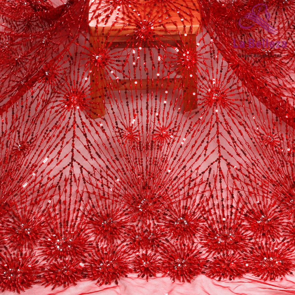 La Belleza 2019 new handmade beaded sequins 3D flowers lace fabric red black ivory beaded lace