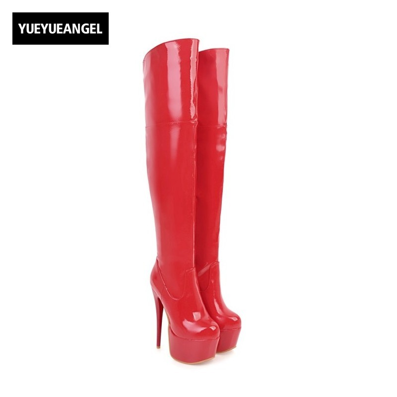 New Fashion Women Shoes Side Zipper Platform Comfortable Lady Sexy Over The Knee Boots For Women Thin Heel Shoes Patent Leather nasipal 2017 new women pu sexy fashion over the knee boots sexy thin high heel boots platform woman shoes big size 34 43 g804
