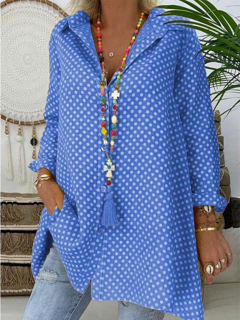 Plus Size Women V Neck Polka Dot Shirt Tops Long Sleeve Loose Blouse Ladies Tops