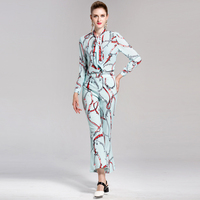 High Quality 2 Pieces Set Women S Long Sleeve Bow Collar Printed Blouse Shirts Full Length