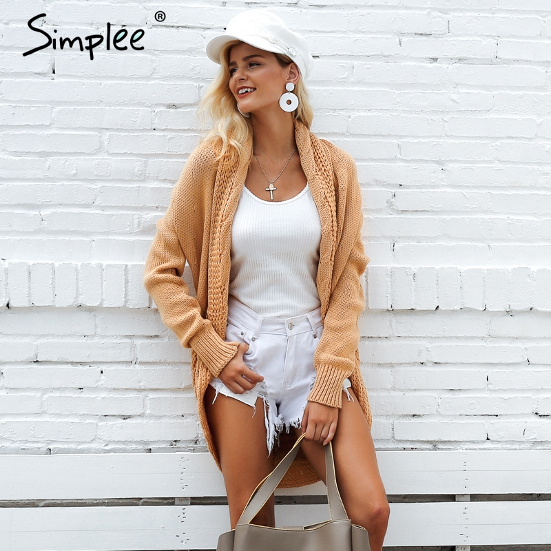 Simplee Winter shrug knitted sweater cardigan Women elegant autumn white cardigan Female turn down collar sweater outwear 2018