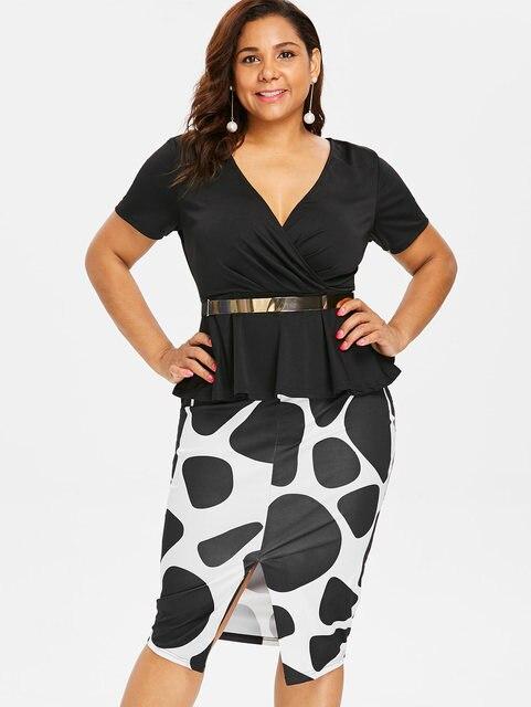 Wipalo Plus Size Print Belted Surplice Peplum Pencil Dress Elegant Deep V  Neck Mid-Calf 84092e8b4f0c