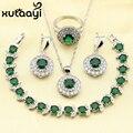 Imitado XUTAAYI Impresionante Verde Esmeralda 4 UNIDS Sistema de La Joyería 925 Pendientes de Plata de ley Anillo Collar Pendiente Pulsera