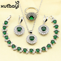 XUTAAYI Impressive Green Imitated Emerald 4PCS Jewelry Set 925 Sterling Silver Earrings Ring Necklace Pendant Bracelet