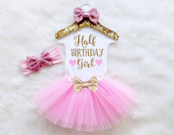 7cefd033201 custom Half Birthday Girl birthday Newborn infant bodysuit onepiece Tutu  Dress romper Outfit Sets baby shower