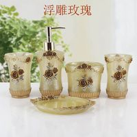 Fashion Home Resin Bathroom Set Of Five Pieces Wash Set Bathroom Dental Set Kit Bathroom Set