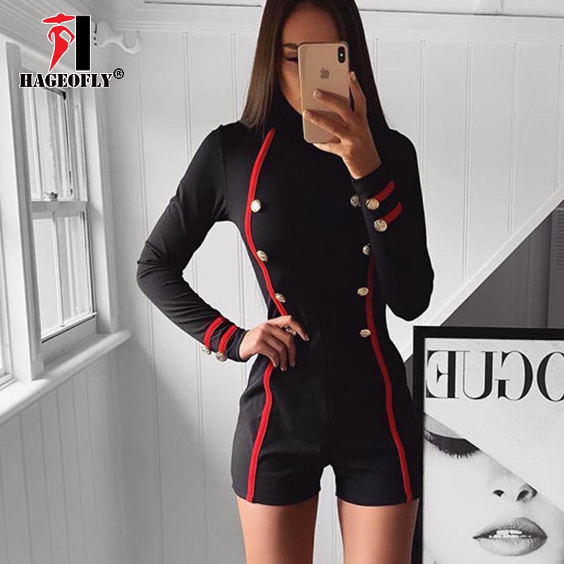 2019 New Sexy Black Playsuit Women Stand Neck Bodycon Sexy Playsuits Long Sleeveless Rompers Overalls Striped