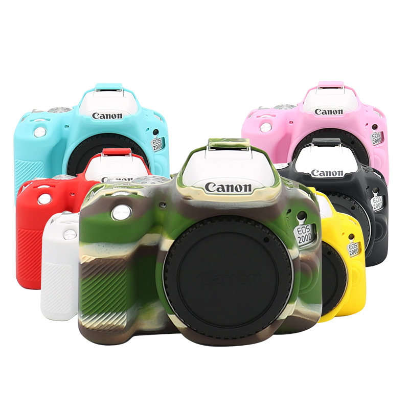 Rubber Silicon Case Soft Body Cover Protector Skin for <font><b>Canon</b></font> EOS <font><b>200D</b></font> Rebel SL2 Kiss X9 DSLR Camera image