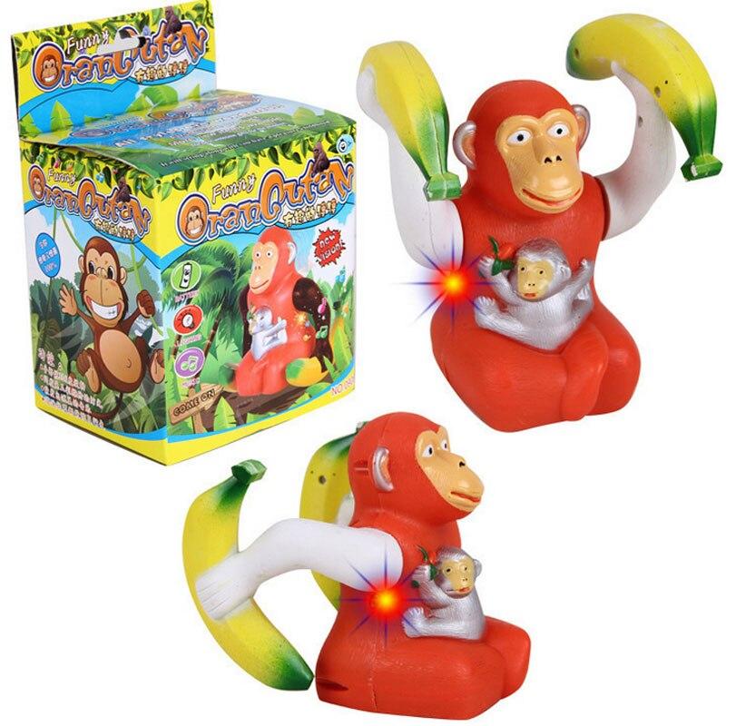 Funny Electronic Tumbling Orangutan Toys 360 Degree Rotation Orangutan with Light and Music Flashing Toys Gift for Kids Children