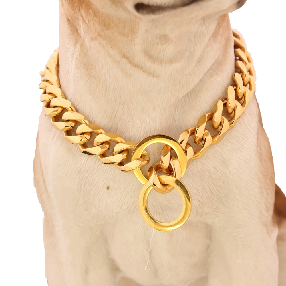"8/10/12/15/17/19mm 10""-40"" For Choose High Polished Gold Stainless Steel Curb Cuban Link Chain Dog's Necklace Pet Jewelry"