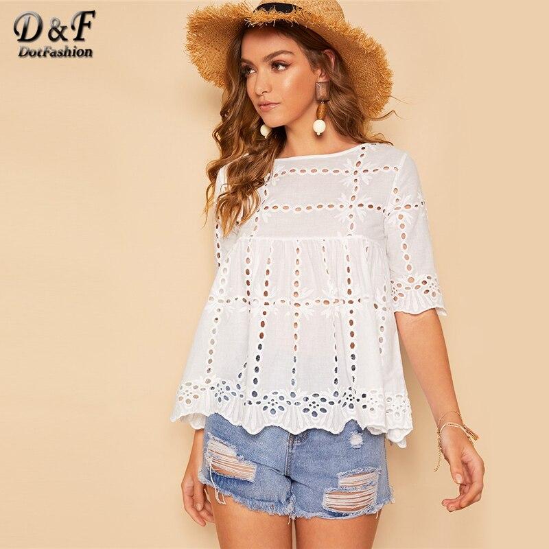 f2233401b Dotfashion Blusa blanca con dobladillo de festoneado para mujer 2019 Boho  verano media manga Casual ...