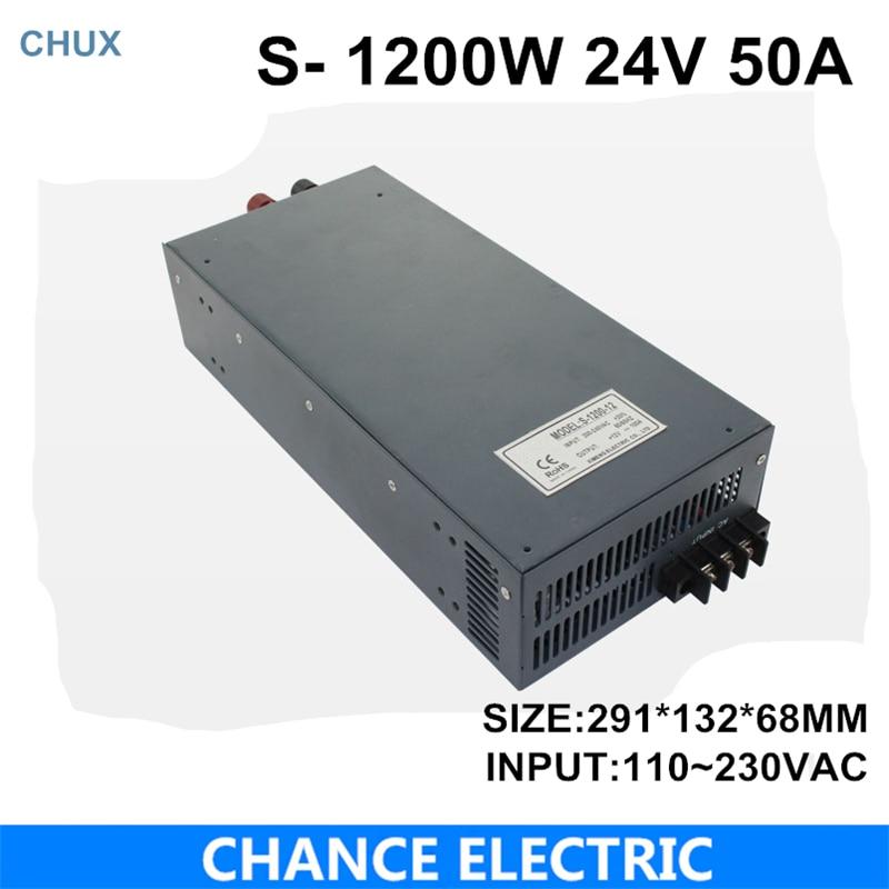 switching power supply 24V 50A 1200W 110~220VAC single output input for cnc cctv led light(S-1200W-24V)