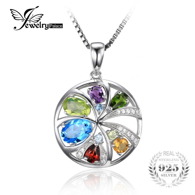 JewelryPalace 2.3ct Natural Blue Topaz Amethyst Citrine Garnet Peridot Chrome Diopsid Pendant 925 Sterling Silver Without Chain