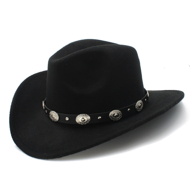 791b2505793 New Vintage Wool Western Cowboy Hat For Womem Men Wide Brim Cowgirl Jazz  Cap With Leather Toca Sombrero Cap