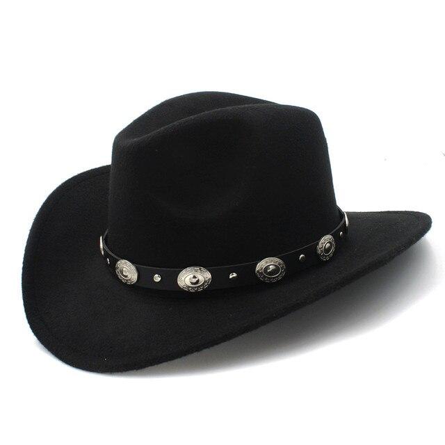 Nuova Annata di Lana Cappello Da Cowboy Occidentale Per Womem Uomini A Tesa Larga Cowgirl Protezione di Jazz Con Cuoio Toca Sombrero Cap