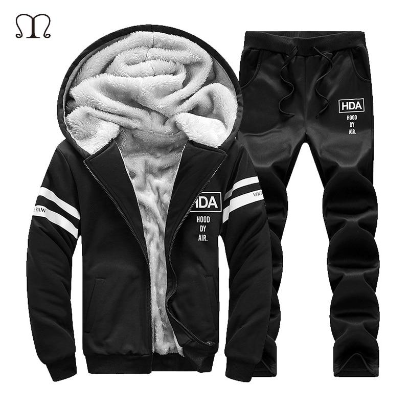 6f58d026c86 Winter Tracksuits Men Set Thicken Fleece Hoodies + Pants Suit Sweatshirt  Set Male Hooded Warm Sporting