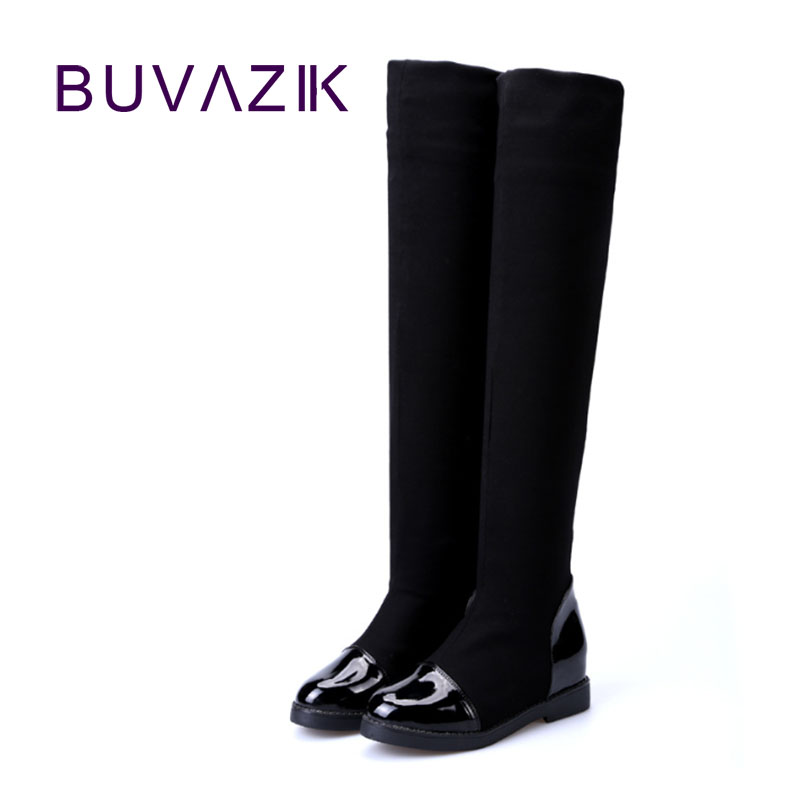 2017 autumn winter over the knee high boots stretch fabric warm thigh hight women boot PU leather long shoes woman large size 41