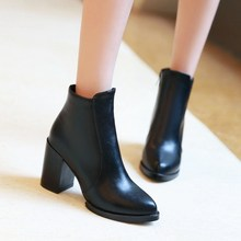 New women high square heel platform ankle boots british style women boots poined toe autumn boots shoes woman large size 34-43