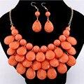 2017 мода слеза форма акриловые бусины ожерелья и серьги большое заявление африканских комплект ювелирных изделий
