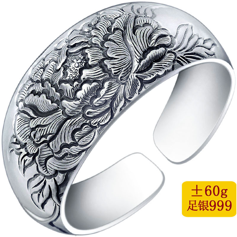 bracelet Thai silver restoring ancient ways is carved version peony bracelet open wide silver bracelet wholesalebracelet Thai silver restoring ancient ways is carved version peony bracelet open wide silver bracelet wholesale