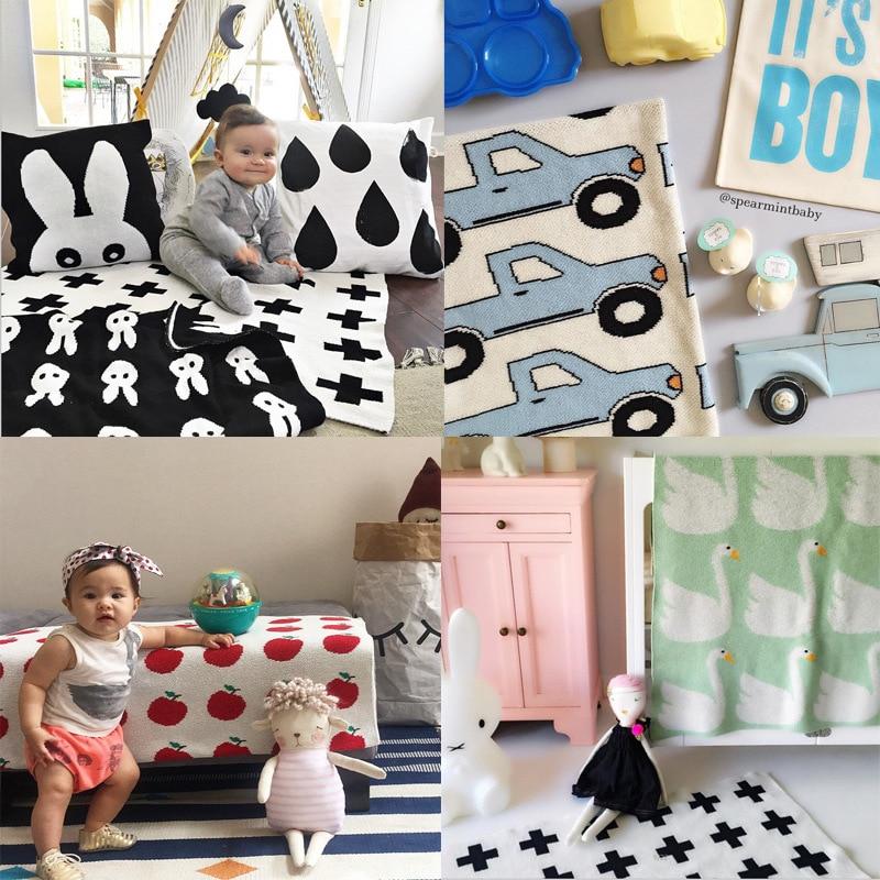 100% bomull baby pojke flickor blankett spela mat barn sängkläder luftkonditionering filtar mode svaddling cross kanin stil 70X100CM