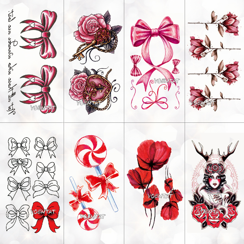 Red Pink Bow Rose Waterproof Temporary Tattoo Sticker For Adults Kids Body Art Women New Design Water Transfer Fake Tatoo