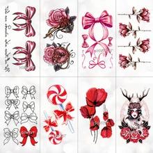 Красный розовый бант Роза водостойкая временная татуировка наклейка для взрослых детей боди-арт женский новый дизайн Вода переводная поддельная татуировка