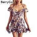 Berrygo hollow out beach vestidos de partido del halter del hombro de summer dress mujeres de la impresión floral de cintura alta sexy dress vestidos