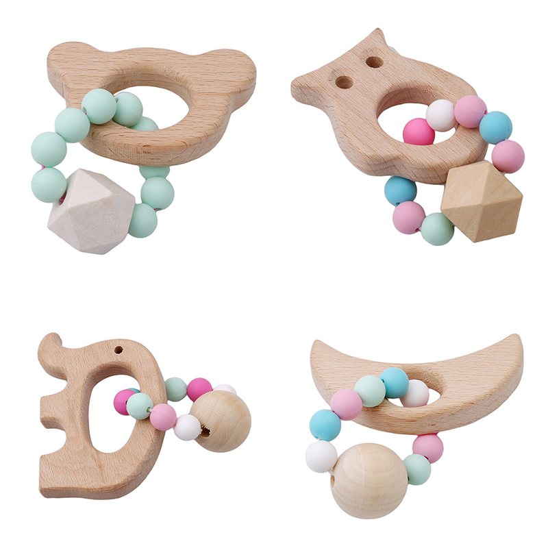 Baby Teething Bracelet Toy Small Animal Shaped Jewelry Teether For Baby Organic Beech Wood Silicone Beads Baby Rattle Stroller