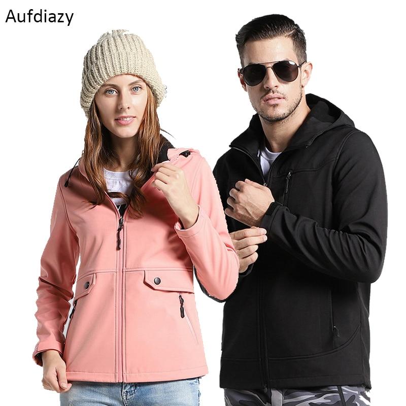 Aufdiazy Men Women Softshell Hiking Jackets Autumn Winter Waterproof Fleece Thick Coats Outdoor Camping Thermal Coat 5XL IM003