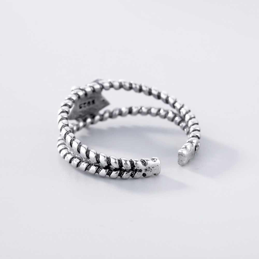 Chandler новые двойные витые линии пятиконечные Звездные Кольца для женщин серебряная звезда Anel 100% посеребренные серебряные ювелирные изделия