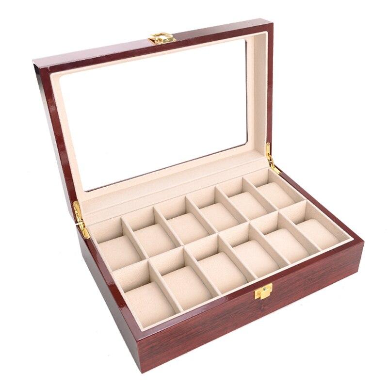 2019 nouveau boîtier de montre en bois 12 grilles boîtier de montre pour heures gaine pour heures boîte pour heures montre - 6