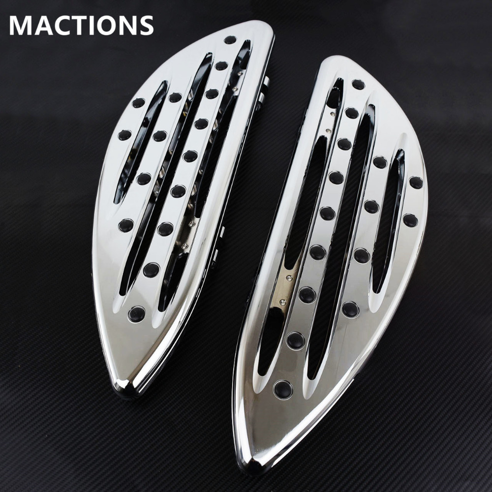 Chrome Front Driver Floorboards Foot Pegs Stretched Pedal For Harley Touring Road King Glide Softail Dyna