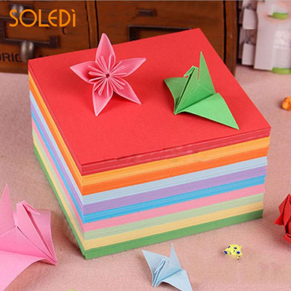 100Pcs/set  Origami Square Hand Paper Double Sided Sheets Colorful Scrapbooking 10CM Craft DIY Handmade Paper Mix Color Paper