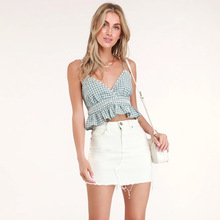 Sexy sleeveless plaid slim summer v-neck vest female ultra-short outer wear halter top party camisole women clothes 2019