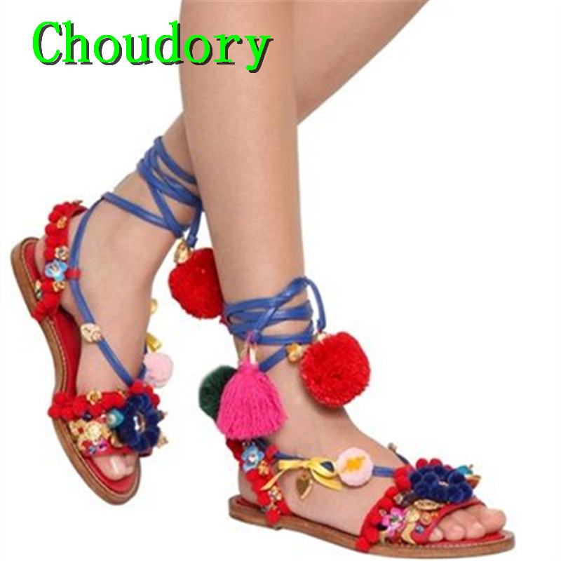 Choudory Casual Mixed Colors Retro Flats Gladiator Shoes Women Flower Crystal Metal Decoration Pompom Embellished Women Sandals