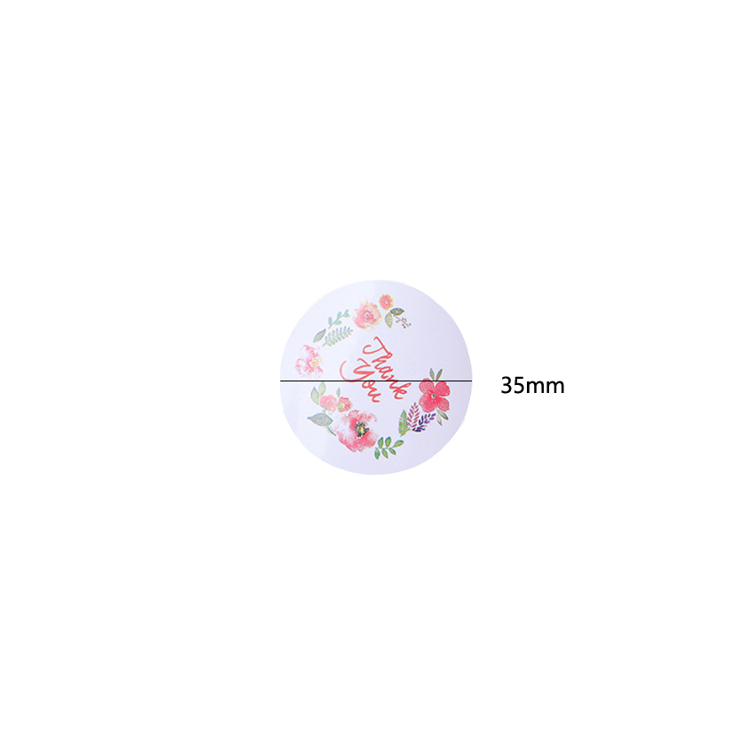 Купить с кэшбэком 100pcs/lot Cute Thank you Wreath Handmade Self-adhesive Label Diy Baked Cake Gift Tag Seal